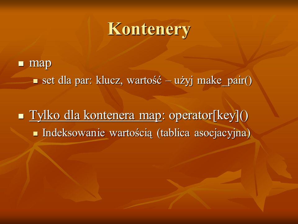 Kontenery map Tylko dla kontenera map: operator[key]()